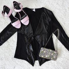 BLACK WET-LOOK WATERFALL BLAZER WORN TWICE NO TRADE Happening in the Present Jackets & Coats Blazers