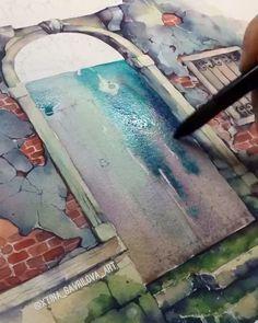 """2,221 Likes, 65 Comments - Watercolor gallery (@xtina_gavrilova_art) on Instagram: """"▶️ Такие акварельные заливки лучше делать на бумаге из хлопка, он держит воду и цвет проникает в…"""""""