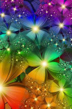 Rainbow sparkling flowers