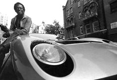 Miles Davis on the hood of his Lamborghini - NYC 1970