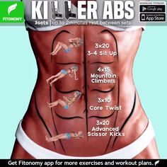 Tutorials Gym Tips on Total Abs and more routines, tag som. -Fitness Tutorials Gym Tips on Total Abs and more routines, tag som. Killer Ab Workouts, Killer Abs, Gym Workouts, At Home Workouts, Workout Exercises, Tummy Exercises, Workout Meals, Daily Exercise Routines, Abs Workout Routines