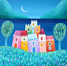 L'aria quieta - Tiziana Rinaldi Art - #village #landscape #blue #painting #art…