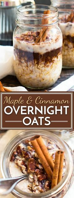A super simple and easy way to make Maple Brown Sugar and Cinnamon Overnight Oats in a jar! Fill your mason jar with rolled oats, maple syrup, cinnamon and milk and wake up to a quick and healthy gluten-free breakfast recipe of maple-cinnamon oatmeal! Gluten Free Recipes For Breakfast, Gluten Free Breakfasts, Healthy Breakfasts, Oats Breakfast Recipes, Yummy Breakfast Ideas, Breakfast Smoothies, Mason Jar Meals, Meals In A Jar, Mason Jar Food