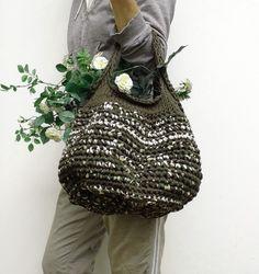 Ssk In Knitting, Finger Knitting, Love Crochet, Knit Crochet, Crochet Hats, Crochet Handbags, Crochet Purses, Knit Basket, Cotton Bag