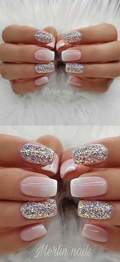 50 Best Gel Glitter Nail Designs to Copy in 2019 Make-up und Nägel Hot Nails, Pink Nails, Glitter Nails, Hair And Nails, Gorgeous Nails, Pretty Nails, Cute Simple Nails, Wedding Day Nails, Cute Acrylic Nails
