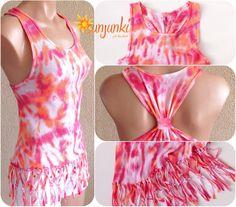 Tie Dye Tshirt Beach Tie Dye Tank Top Dyed Shirt Sexy by Sunjunki