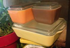 6 pcSet Refrigerator dishes w/Lids PYREX town and country solid HTF 501,502,503  #Pyrex