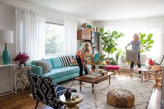 Love this colourful  living room | styled by emily henderson