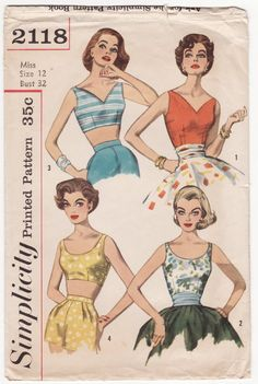874b2399b29 Vintage 1950s Sewing Pattern - Fitted Sleeveless Blouses and Cropped Bare  Midriff Bra Tops
