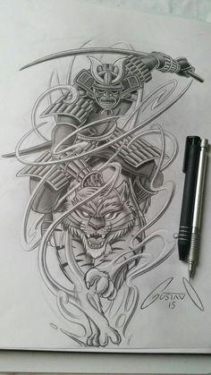 I want to tattoo a Japanese samurai to the back plan. I think I really like this photo. Japanese Tattoo Designs, Japanese Tattoo Art, Japanese Sleeve Tattoos, Japanese Warrior Tattoo, Irezumi Tattoos, Arm Tattoos, Tribal Tattoos, Tiger Tattoo, Samurai Tattoo Sleeve