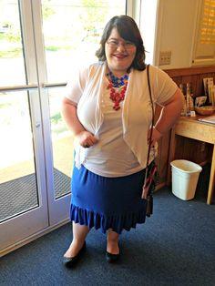 Unique Geek: Plus Size OOTD: Patriot Day #plussize #plussizefashion #plussizefashionblogger #plussizeblogger #plussizeoutfit #plussizeootd #patrioticoutfit #plussizestyle #modest #modestoutfit #modeststyle #modestfashion #modestsummeroutfit #redwhiteandblue #statement necklaces #stripes #polkadots