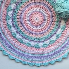 Crochet Diy Crochet Mandala Rug Free Pattern by Suzzanne Smith Wilson - You will love our post that includes a lovely DIY Crochet Mandala Rug. You will find lots of artistic crochet mandala rugs and free patterns too. Motif Mandala Crochet, Mandala Rug, Crochet Motifs, Crochet Squares, Crochet Patterns, Granny Squares, Mandala Blanket, Blanket Patterns, Crochet Doilies