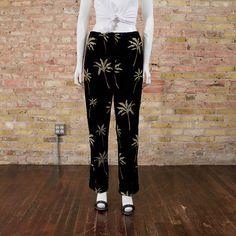 palm print corduroys / novelty / slouchy corduroys / peg pants