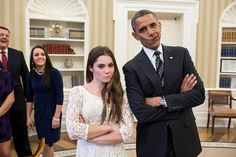 """THE POTUS IS NOT IMPRESSED Photograph by Pete Souza President Barack Obama jokingly mimics U. Olympic gymnast McKayla Maroney's """"not impressed"""" look while greeting members of the 2012 U. Olympic gymnastics teams in the Oval Office, November Barack Obama, Obama President, Vice President, Nelly Furtado, Betty White, Shaun White, Mckayla Maroney Not Impressed, Not Impressed Face, Funny Memes"""