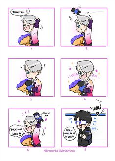 "⛸️ The final step of ""How i draw my Yuri on ice Comics"" < Coloring + Details > ⛸️Viktor : ""Y. Yuuri plush for Viktor ユーリ!!! On Ice, Ice Ice Baby, Sanrio, Yuri X Victor, Yuri On Ice Comic, Katsuki Yuri, Yuri Plisetsky, Cute Gay, Manga"