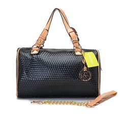 MICHAEL Michael Kors Grayson Large Woven Satchel Black