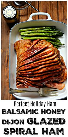 This Balsamic Honey Dijon Glazed Spiral Ham is the holiday ham recipe youre looking for. The balsamic honey Dijon glaze is the perfect combination of sweet and savory flavors. So easy to prepare its almost effortless. Honey Glazed Ham, Honey Ham, Holiday Ham, Christmas Ham, Ham Dishes, Food Dishes, Thanksgiving Recipes, Holiday Recipes, Ham Recipes