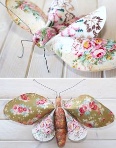 Peach-Blossom Moths using Tilda fabrics - free pattern @ Red Brolly… Fabric Animals, Fabric Birds, Fabric Scraps, Sewing Toys, Sewing Crafts, Sewing Projects, Craft Projects, Bird Crafts, Felt Crafts