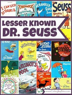 Children's book list of lesser known Dr. Seuss books.  There's so much more to Dr. Seuss than Hop on Pop!  This list features over 15 Dr. Seuss books that you may not have heard of.  Great choices for toddlers, preschoolers, and elementary aged children.  Reviews of each!