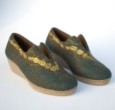 Felted wool clogs Green golden ooak  felted green shoes by Rasae