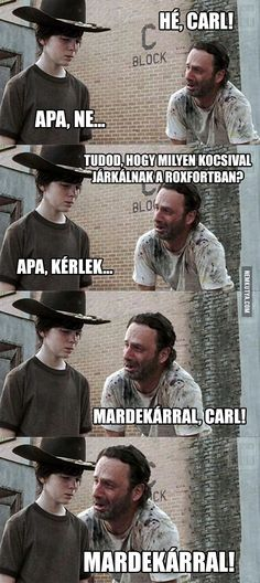 funny meme horror memes humor funny meme twd the walking dead Rick Grimes Andrew Lincoln carl grimes chandler riggs dad jokes Walking Dead Funny, Walking Dad Jokes, Walking Dead Coral, Carl The Walking Dead, The Walk Dead, Rick Grimes, Rick And Carl, Rick E, Twd Memes