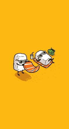 """Tee Shirt Illustration - 2012 - Batch) by Chow Hon Lam, via Behance ------- It's titled """"Summer Sushi"""".How adorable! Its kind of the illustration style I want to go into for my project. Graphisches Design, Vector Design, Humor Grafico, Food Illustrations, Cute Illustration, Cute Cartoon, Cute Drawings, Cute Wallpapers, Cute Art"""