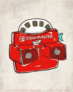 Print Viewmaster Illustration quirky doodle by wonderdoodle