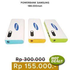 HOT DEAL !!! .  Powerbank Samsung 188.000 mAh. Desain bagus 2 port USB & dilengkapi senter.  Ready warna : abu2 kuning biru hijau pink  Harga 155.000  Order  Line : AZZAGADGET  Whatsapp : 081357776262  WAJIB menggunakan format order  nama :  no hp :  alamat lengkap :  pesanan :  Tidak pakai format akan slow response…