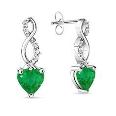 Heart Emerald and Round Diamond Double Twist Earrings.  http://shrsl.com/?~39eh  $1,119.99
