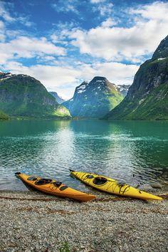 Have you ever kayaked in the fjords of Norway? Adventures Near Me, Kayak Adventures, Kayak Camping, Canoe And Kayak, Camping Lamp, Rafting, Kayak For Beginners, Norway Fjords, Whitewater Kayaking