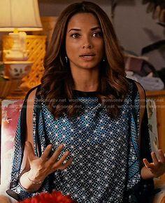April's blue printed blouse on Mistresses.  Outfit Details: https://wornontv.net/58688/ #Mistresses