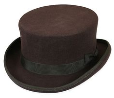 """Can't top this! Our Chocolate Cahill Hat adds superlative sartorial style in any era – past, present or pretend!Made from black wool felt with 1.5"""" brim and 4"""" crown wrapped with grosgrain trim. Can be fit snuggly to the head with an adjustable elastic tie hidden in the crown. Fashioned from 100% black wool felt. Imported. Available in sizes M-XL. Also offered in black."""