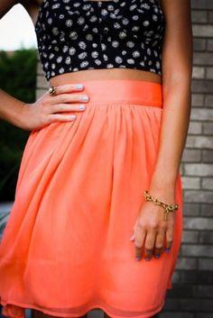 bralette   high-waisted skirt.