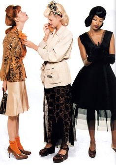 Meghan, Linda and Naomi by Steven Meisel for American Vogue, January 1995. Clothing by Jean Paul Gaultier.