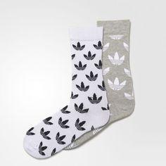 Thin Graphic Crew Socks 2 Pairs - Grey
