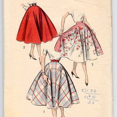 This is a Rare Sew Easy pattern for a Misses Circle Skirt w/ 7 zipper & waistband. Instructions in English are for regular woven fabric, plus it includes special instructions for felt skirts. Make an original poodle skirt (you provide the poodle). RARE Advance 8597 skirt sewing pattern from 1950s, great for authentic 50s costume. Suggested fabrics: cottons and blends, bordered prints, lace, linen, silks, wools, felt, nap fabrics. Advance 8597 For Misses or teen girls Waist 23, Hip...