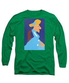 Patrick Francis Designer Kelly Green Long Sleeve T-Shirt featuring the painting Portrait Of Adeline Ravoux - After Vincent Van Gogh by Patrick Francis