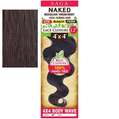 "Saga Naked 4 x 4 Lace Closure Body Wave 16"" - Color NATURAL - Unprocessed Closure - Hand Tied Soft Lace Part"
