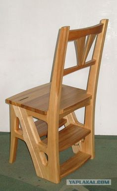 Silla escalera plegable de caoba decoraci n escaleras for Silla escalera de madera