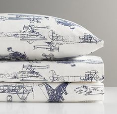 Vintage Airplane Blueprint Crib Fitted Sheet from RH Baby&Child