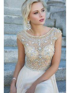 U-Ausschnitt A-Linie/Princess-Stil Kurze Ärmel Perlenstickerei Kunstdiamant Bodenlang Kleider - Ballkleider - BelleDress.de