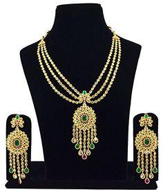 Saloni Fashion Jewellery Designer Gold Neaklace with Reverse American Diamonds With L.C.T, Ruby & Onyx #girlsfashionsense #gfs #girlsfashionwear #girlsfashion #fashionsense #accessories #Jewellery