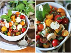 Quick Caprese Salad- Vegans use vegan mozzarella cheese make scoops in block of cheese with melon scoop Healthy Salads, Healthy Foods To Eat, Healthy Eating, Light And Easy Meals, Soup And Salad, Salad Bar, Heart Healthy Recipes, Cookbook Recipes, Caprese Salad
