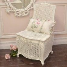 Shabby Vintage Cane Commode Chair