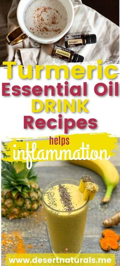 Support inflammation, anxiety, and a wide range of health issues with Turmeric Essential Oil .  Any easy way to use doTERRA Turmeric essential oil iis n your favorite drink recipes.  This is an easy way to take your turmeric oil daily and receive the massive health benefits including reducing inflammation, boosting your immune system, helping with mood, and healthy, glowing skin. Get recipes for Turmeric Latte, Golden Milk with ginger, pineapple turmeric smoothie, and coconut milk turmeric… Turmeric Drink, Turmeric Smoothie, Turmeric Recipes, Turmeric Essential Oil, Turmeric Oil, Easy Healthy Recipes, Healthy Drinks, Stay Healthy, Healthy Meals