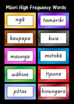 Written in order of frequency. 10 words per page. Grouped into sets of 50 - each set has a different coloured border.The font used is NZ Basic Script. These words are also available as word cards - 10 words on each card. Free Teaching Resources, School Resources, Classroom Resources, Teaching Ideas, Maori Words, Spelling Words List, Bilingual Classroom, Word Study, Word Work