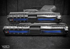 Pair of Glocks we Cerakoted with the Thin Blue Line and Stars and Stripes. Amazing photography by @youngbuckdave