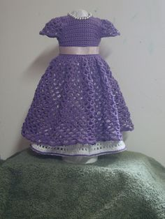 Ravelry: American Girl Doll Princess Dress pattern by Elaine Phillips ~ **Free Crochet Pattern ~ I like the purple (lilac) colour having been added to the bottom of the inner-skirt** American Doll Clothes, Baby Doll Clothes, Crochet Doll Clothes, Princess Dress Patterns, Doll Dress Patterns, American Girl Crochet, American Girls, Crochet Dress Girl, Crochet Baby