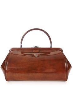 Brown patent grab bag by Prada on secretsales.com