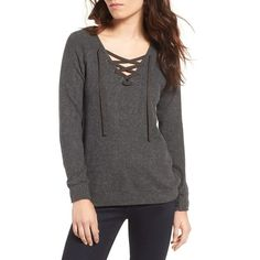 Women's Velvet By Graham & Spencer Cozy Lace-Up Top (42 KWD) ❤ liked on Polyvore featuring tops and anthracite